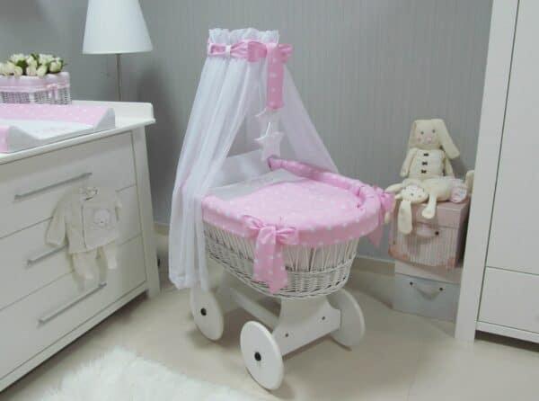 Rotan Wiegje Roze   Baby's Paradijs   kosz kola bialy gwiazdki roz