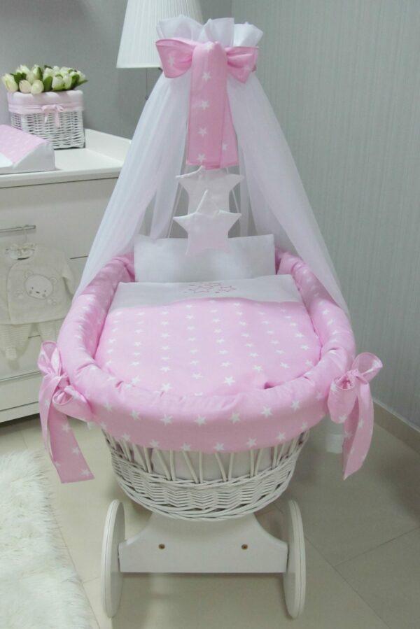 Rotan Wiegje Roze   Baby's Paradijs   kosz kola bialy gwiazdki roz2 scaled