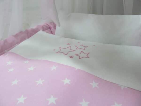 Rotan Wiegje Roze   Baby's Paradijs   kosz kola bialy gwiazdki roz3 1