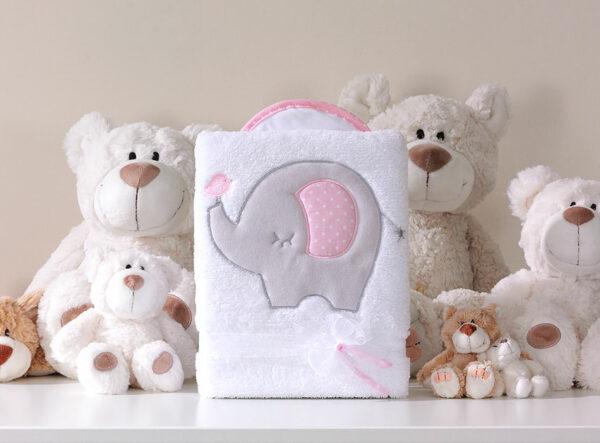 Deken olifantje roze   Baby's Paradijs   MT kocyk dlugowlosy slonik bialo rozowy