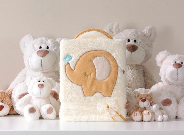 Deken olifantje bisquite   Baby's Paradijs   MT kocyk dlugowlosy slonik biszkoptowy