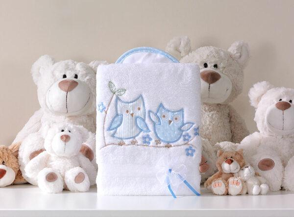 Deken uiltjes blauw | Baby's Paradijs | MT kocyk dlugowlosy sowki uszatki bialo blekitne