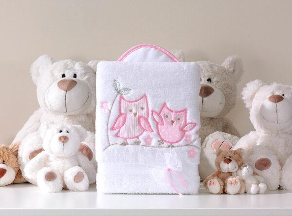 Deken Uiltjes Roze   Baby's Paradijs   MT kocyk dlugowlosy sowki uszatki bialo rozowe