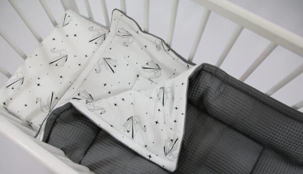 Wafelstof deken Tiny Star Origami Swan Donkergrijs | Baby's Paradijs | IMG 1780