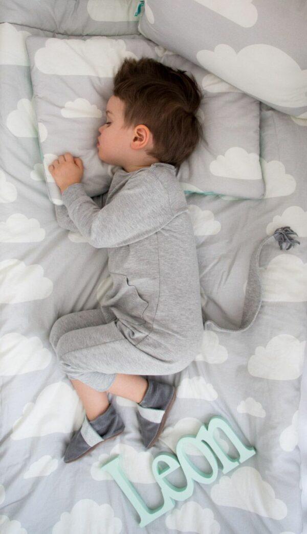 Deken Wolkjes Mint & Grey Lamps & Co   Baby's Paradijs   Kocyk Chmurki Grey preview