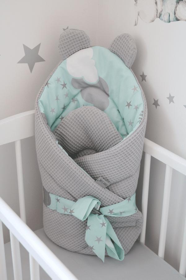 Wikkeldeken wafelstof Sweet Minty Puffs | Baby's Paradijs | IMG 6930