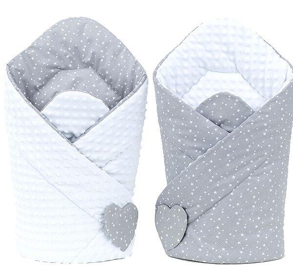 Wikkeldeken minky mini sterren op grijs/wit