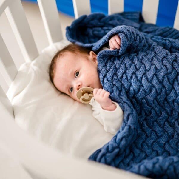 100% MERINO WOOL BLANKET - DENIM   Baby's Paradijs   1 Czaple 105 min 1